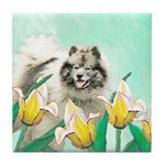 Keeshond in Tulips Tile Coaster