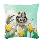 Keeshond in Tulips Woven Throw Pillow
