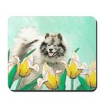 Keeshond in Tulips Mousepad
