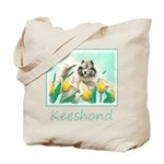 Keeshond in Tulips Tote Bag
