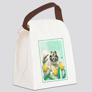 Keeshond in Tulips Canvas Lunch Bag