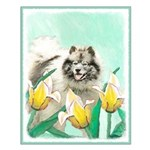 Keeshond in Tulips Small Poster