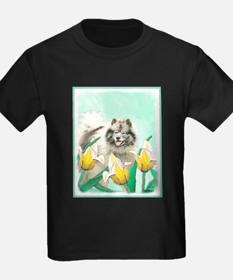 Keeshond in Tulips T