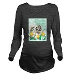 Keeshond in Tulips Long Sleeve Maternity T-Shirt