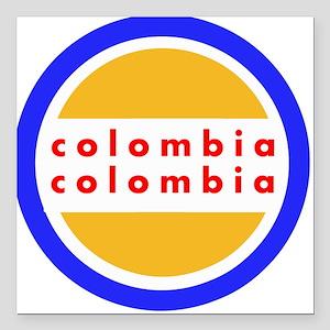 "Colombia Pride Square Car Magnet 3"" x 3"""
