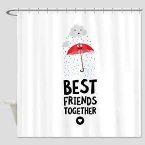 Umbrella and rain Best friends Hear Shower Curtain