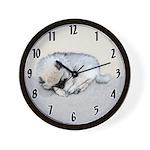 Keeshond Puppy (Sleeping) Wall Clock