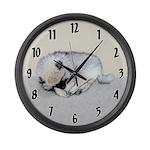 Keeshond Puppy (Sleeping) Large Wall Clock