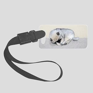 Keeshond Puppy (Sleeping) Small Luggage Tag