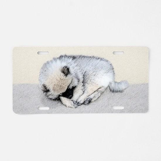 Keeshond Puppy (Sleeping) Aluminum License Plate