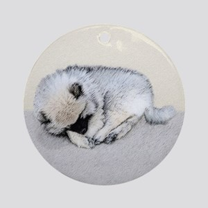 Keeshond Puppy (Sleeping) Round Ornament