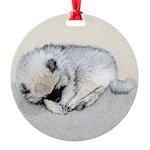 Keeshond Puppy (Sleeping) Round Ornament