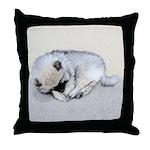 Keeshond Puppy (Sleeping) Throw Pillow
