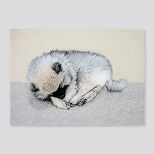Keeshond Puppy (Sleeping) 5'x7'Area Rug