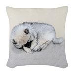 Keeshond Puppy (Sleeping) Woven Throw Pillow
