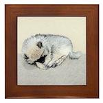 Keeshond Puppy (Sleeping) Framed Tile