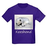 Keeshond Puppy (Sleeping) Kids Dark T-Shirt