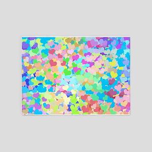 Bright Confetti Hearts 5'x7'Area Rug