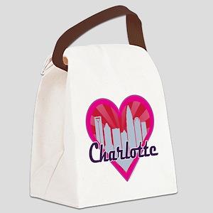 Charlotte Skyline Sunburst Heart Canvas Lunch Bag