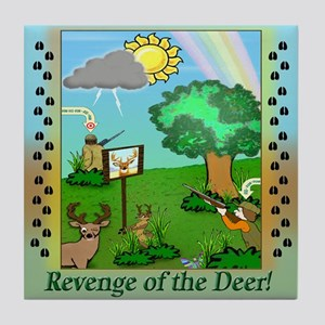 """Revenge of the Deer"" Tile Coaster"