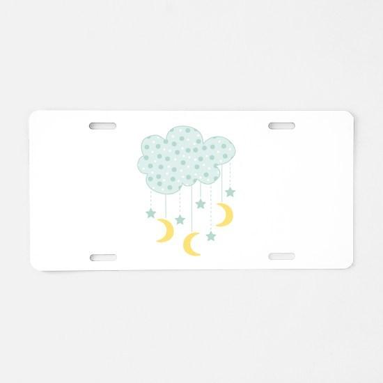 Hanging Moon Stars Aluminum License Plate
