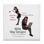 Clean Up Your Grammar Tile Coaster