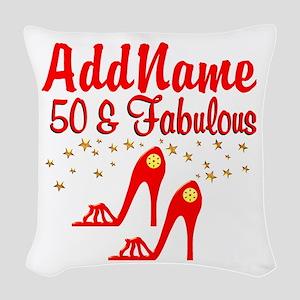 FANTASTIC 50TH Woven Throw Pillow