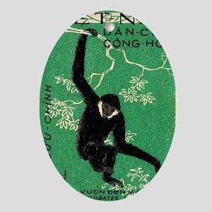 Vintage 1961 Vietnam Gibbon Postage  Oval Ornament