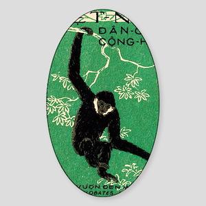 Vintage 1961 Vietnam Gibbon Postage Sticker (Oval)