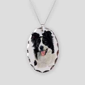 Border Collie Head Necklace Oval Charm