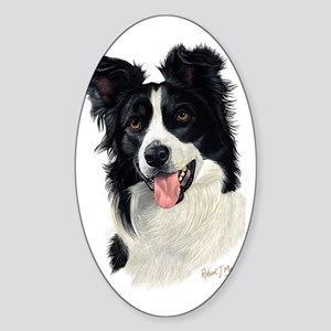 Border Collie Head Sticker (Oval)