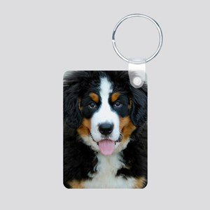 Bernese Mountain Dog Puppy Aluminum Photo Keychain