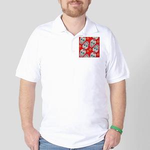 SugarSkull Halloween Red Golf Shirt