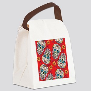 SugarSkull Halloween Red Canvas Lunch Bag