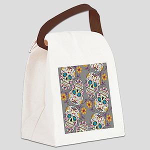 SugarSkull Halloween Grey Canvas Lunch Bag