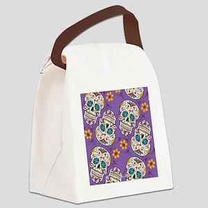 SugarSkull Halloween Purple Canvas Lunch Bag