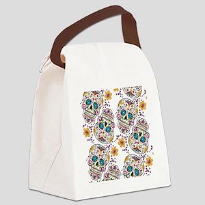 SugarSkull Halloween White Canvas Lunch Bag