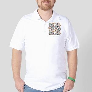 SugarSkull Halloween White Golf Shirt