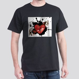 Red Broken Grunge Heart with Safety Pin T-Shirt