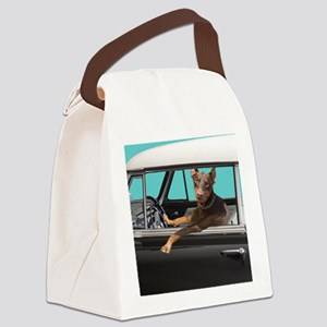 Doberman Pinscher in Classic Car Canvas Lunch Bag