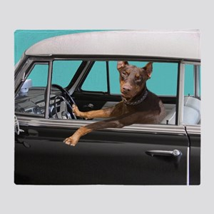 Doberman Pinscher in Classic Car Throw Blanket