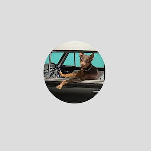 Doberman Pinscher in Classic Car Mini Button