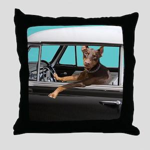 Doberman Pinscher in Classic Car Throw Pillow