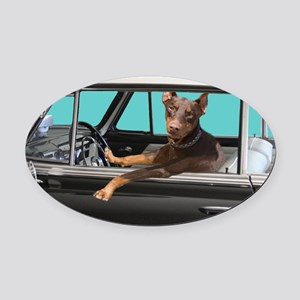 Doberman Pinscher in Classic Car Oval Car Magnet