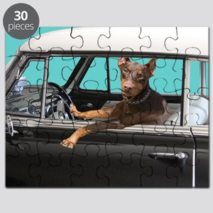 Doberman Pinscher in Classic Car Puzzle