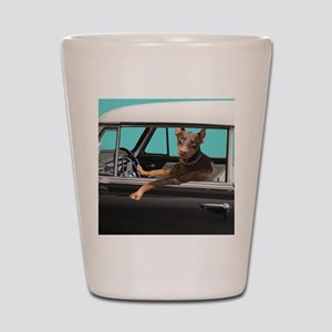 Doberman Pinscher in Classic Car Shot Glass