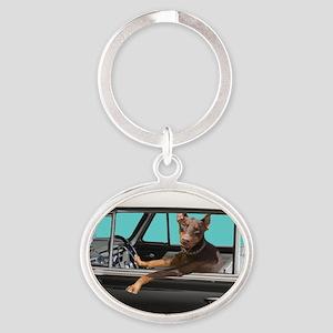 Doberman Pinscher in Classic Car Oval Keychain