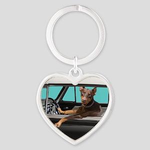 Doberman Pinscher in Classic Car Heart Keychain