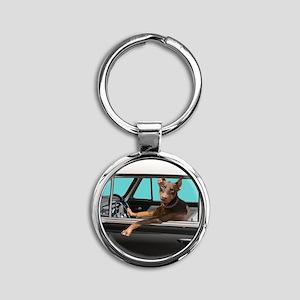 Doberman Pinscher in Classic Car Round Keychain