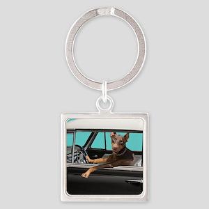 Doberman Pinscher in Classic Car Square Keychain